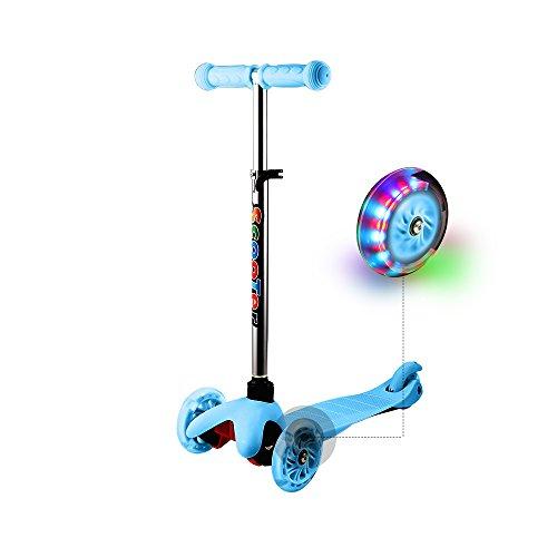 WeSkate Roller für Kinder Kleinkinder Scooter 3 Räder Verstellbare Mini Kinderscooter Kinderroller Dreiräder mit Blinkenden LED-Räder für Jüngere Mädchen ab 2 Jahre (Blau)