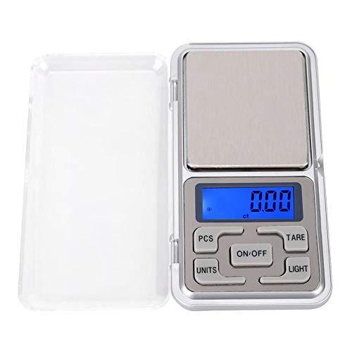 Báscula de alimentos Gram Básculas de bolsillo digitales Báscula portátil Pequeña mini cocina Cocina Joyas Café Escala de oro para precisión 0.01 g Capacidad 500 g