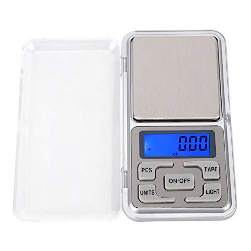 500g 0.1g Mini Balanza Bolsillo Portátil Báscula Electrónica Digital Alimentos con luz Fondo Básculas Cocina Alta precisión Báscula Pesaje Alimentos con Temporizador