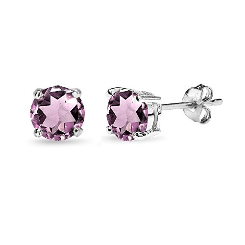 Sterling Silver Purple CZ 6mm Round-Cut Solitaire Stud Earrings