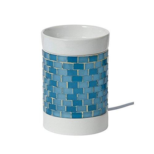 YANKEE CANDLE 1521525Glitter Glow Lampada elettrica profumata, Ceramica, Azzurro/Bianco, 12.5x 10x 10cm