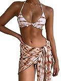 ZAFUAZ Women's 3 Piece Tie Dye Cami Crop Top Knot Skirt Bikini Set Swimsuit (C, Small)