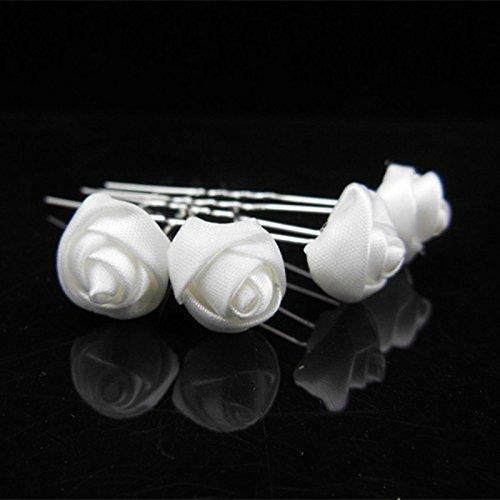Power of Parfumes Miya® Lot de 4 pointes magnifique main élégant Blanc Rose Fleurs en satin, épingles à cheveux haarpin spirales, cheveux de mariée Bijoux Mariage Cérémonie