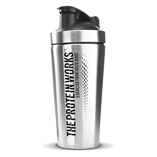 Stainless Steel Protein Shaker | Durable Water Bottle, Leak Proof, Dishwasher Safe | THE PROTEIN WORKS, Silver, 700 ml