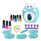 CHENSTAR Kit de arte de uñas para niños – Set de maquillaje de uñas para niñas pequeñas, seguro y no tóxico, juego de belleza cosmética real para niñas