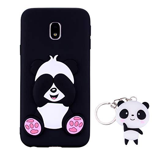 HopMore Panda Funda para Samsung Galaxy J3 2017 Silicona con Diseño 3D Divertidas Carcasa TPU Ultrafina Case Antigolpes Caso Protección Cover Dibujos Animados Gracioso con Llavero - Negro