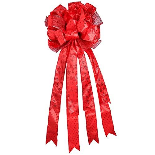 Lazo para adorno de árbol de Navidad,34 x 13 pulgadas Sombrero de copa rojo con lazo de árbol de Navidad adornos de arco para adorno de árbol con purpurina para decoraciones de fiesta de año nuevo