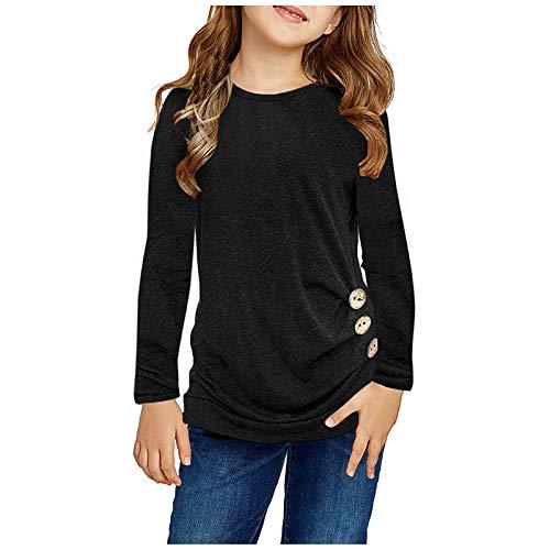 Janly Clearance Sale Blusa de manga larga para nias de 0 a 15 aos, estilo informal, con nudo frontal, para chrismas de invierno de 8 a 9 aos (negro)