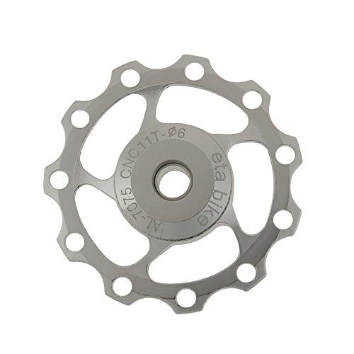 Demiawaking Bicicletta 11T Deragliatore Posteriore Rullo della Puleggia Parte della Ruota Dentata del Cuscinetto a Sfera (Argento)