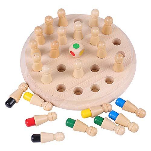 Jsdoin Juego de memoria de madera para niños, juego de ajedrez, juguetes...