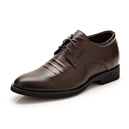 YANGFAN Zapatos de Cuero, Zapatos Casuales, Trabajo, al ai Zapatos de Oxford de los Hombres, 6 cm Lace Redondo Toe 3 Ojo Tacones Altos, Classic Classic Synthetic Cuero Suela de Goma