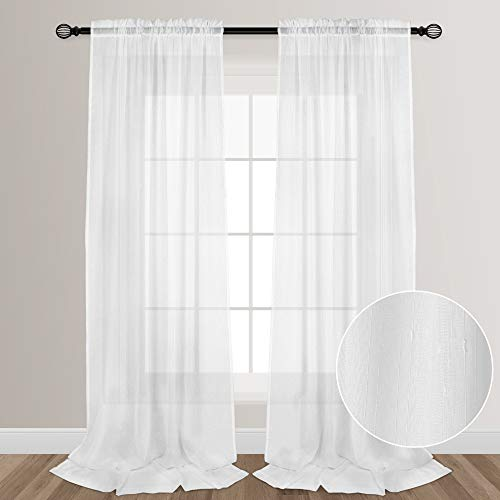 VOILYBIRD White Sheers Extra Long See Through Faux Linen Sheer Curtains for Living Room Bedroom Lightweight Rainy Style Rod Pocket at Top, 52-inch by 108-inch, 2 Panels