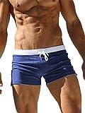 TACVASEN Maillot de Bain Homme Swimming Shorts for Men Swim Briefs Summer Surf Trunks Quick Dry Beach Box Brief with Pocket Navy
