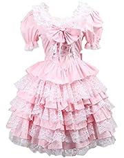 Antaina rosa bomull volanger spets rosett puff viktoriansk söt Lolita cosplay klänning
