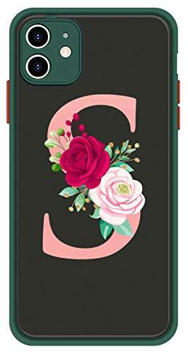 Mixroom - Cover Custodia per Apple iPhone X Bumper Protezione Fotocamera Retro Semitrasparente Bordo Verde Morbido in TPU Iniziale Lettera S con Rosa