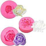 KuuGuu 3 Pack 3D Flower Bloom Rose Silicone Molds Resin Rose Candle Mold for Cake Decoration Chocolate Handmade Soap Candy Making Craft Art