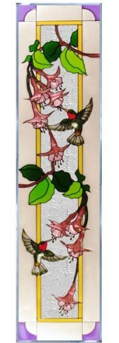 Hummingbirds Fuchsia Vertical Art Glass Panel Wall Hanging Suncatcher 42 x 10