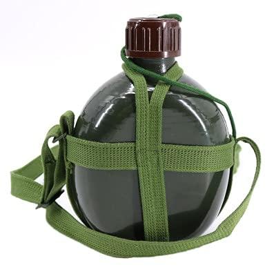 YYSD Frasco Militar de Aluminio, Botella de Agua para Vino, Taza de Cocina con Correa para el Hombro, hervidor de Agua para Senderismo, Herramientas al Aire Libre 1L / 2L