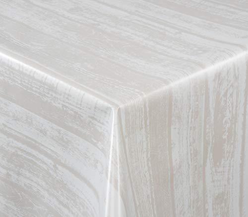 EHT Tischdecke Wachstuch Gartentischdecke rund eckig oval in verschiedenen Größen Meterware Wachstichdecke Holzoptik hell