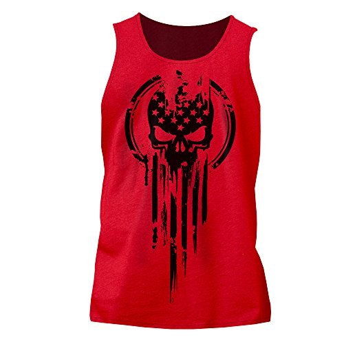 American Warrior Flag Skull Military Tank Top Large Red