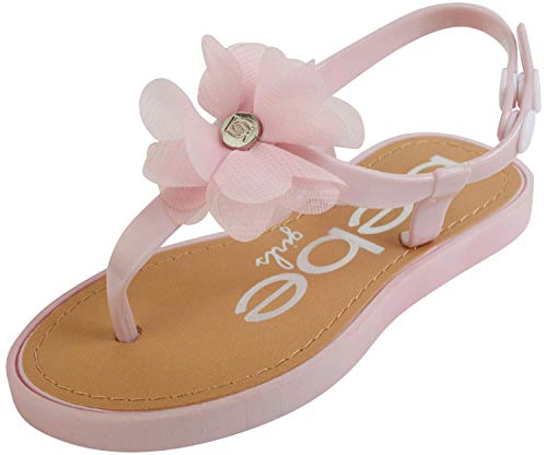 bebe Girls' Thong Sandals with Chiffon Flowers, Light Pink, Size 7-8 Toddler'