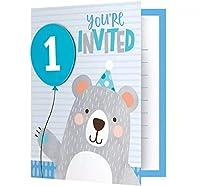 グリーティングカード【バースデー インビテーション カード 1歳の誕生日 クマさんデザイン 8枚セット】 [並行輸入品]