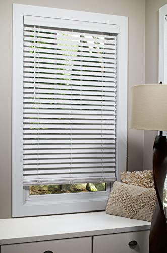 """2-inch Flat Slat Faux Wood Cordless Room Darkening Blinds, White - 23"""" W x 64"""" H (Over 500 Custom Sizes) Starting at $13.49"""