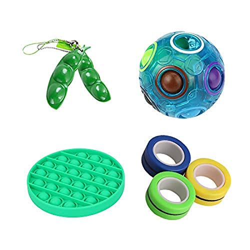 Dihge Sensory Decompression Toy Pop Music Sensory Fixed Toy 4-Piece Set Magic Rainbow Ball Magnetic Ring Hand Rotator Bubble Toy Autism Stress Relief Green