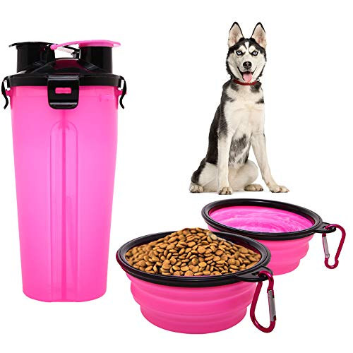 Dog Water Food Bottle for Camping 2-In-1 Pet Food Container