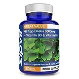 Ginkgo Biloba 6000mg | 180 Pastillas | Fórmula PLUS Enriquecida + Vitamina B3 y B5 | Apto para Veganos | Bote para 6 Meses | Las Más Baratas del Mercado.