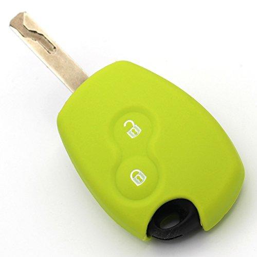 Finest-Folia Coque en silicone pour clé de voiture à 2 boutons Vert citron