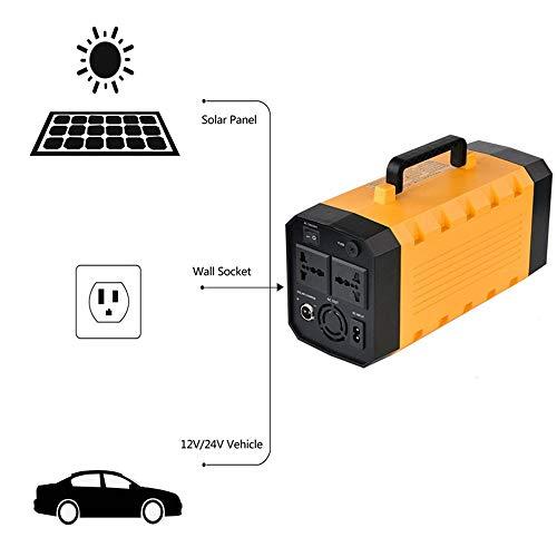 BQT Groupe électrogène Solaire portatif 500W, Alimentation Groupe électrogène Rechargeable, avec onduleur CA, Sortie USB 12V CC, pour extérieur et intérieur (Jaune 288Wh / 12V, 36Ah)