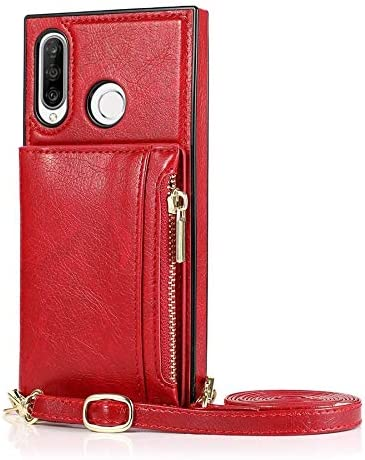 SLDiann Case for Huawei P30 lite, Zipper Wallet Case with Credit Card Holder/Crossbody Long Lanyard, Shockproof Leather TPU Case Cover for Huawei P30 lite (Color : Red)