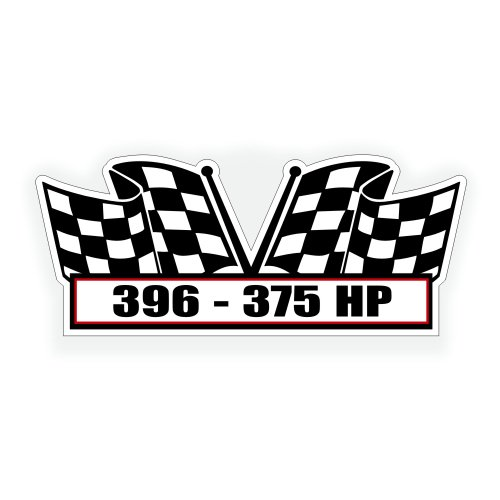 Solar Graphics USA Air Cleaner Sticker Decal - 396 375 Horse Power for V8 Big Block, Pro Street, Race, Classic Muscle Car, Compatible with Chevrolet Chevy Chevelle Camaro - 5 x 2.25 inch