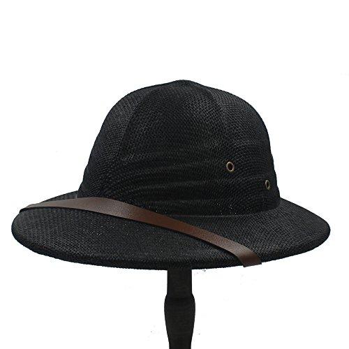 HUT Sommer-Reithelm Pferd, vietnamesischen Unisex Helm, Helm Sonnenschutz Helm Outdoor Sonnenblende (Color : Black)