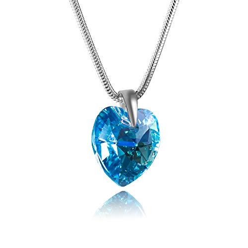 LillyMarie Damen Halskette Sterling-Silber 925 Swarovski Elements Herz-Anhänger Hell-blau Längen-verstellbar Geschenkverpackung Geschenkideen für die Mama