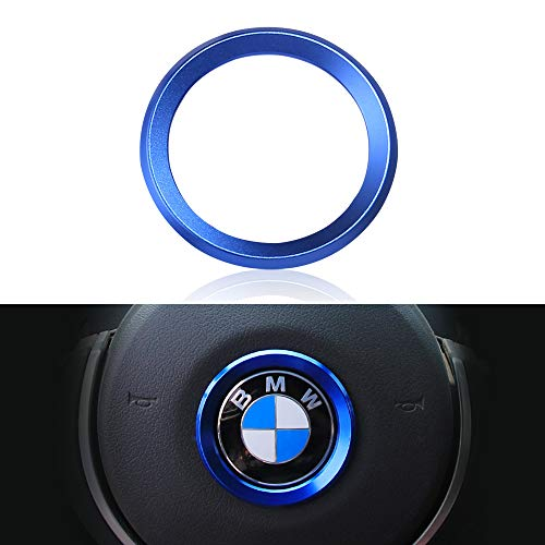 VDARK Ersatz für BMW Zubehör Teile Lenkrad Logo Caps Abdeckungen Abziehbilder Lenkrad Dekoration Ersatz für BMW Innen Aufkleber Visiere Dekorationen 1 3er Reihe 5 Serie 6 7 X1 X3 X5 X6 Blau