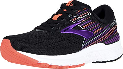 Brooks Women's Adrenaline Gts 19 Running Shoes, Black Black Purple Coral 080, 4.5 UK