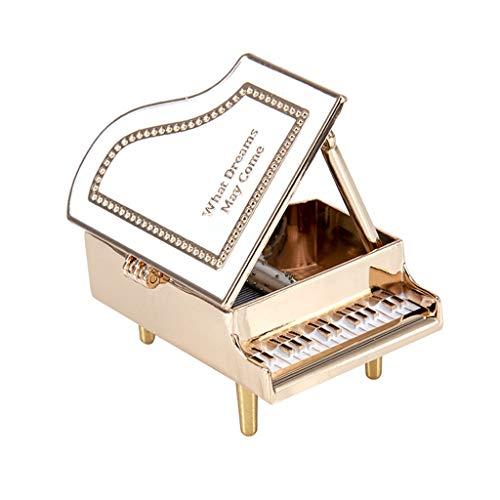 Caja de música Mini Caja de música de Piano Mecanismo de simulación de aleación Caja Musical de Windup Regalo for Navidad/Cumpleaños/Día de San Valentín Caja Musical (Color : White)