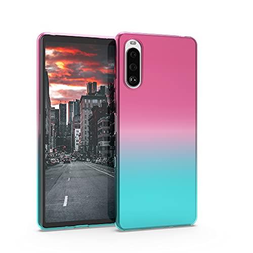 kwmobile Custodia Compatibile con Sony Xperia 10 III - Back-Cover Anti-Urto Custodia in Morbido Silicone Fucsia/Blu/Trasparente - 2 Colori