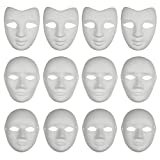 CSPRING 12PCS Paper Face DIY Mask Paintable White Plain Mask Costume for Mardi Gras Cosplay Masquerade Dance Party