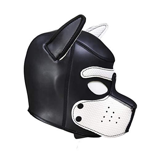AmaMary sexy Cosplay welpenmaske, sexy Cosplay Rolle spielhund volle kopfmaske gepolsterte Gummi welpen spielmaske weich (Weiß)