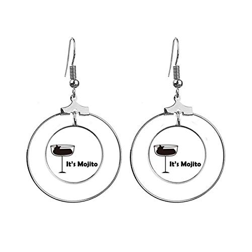 Mojito With Its Cup Art Deco Gift Fashion Earrings Dangle Hoop Jewelry Drop Circle