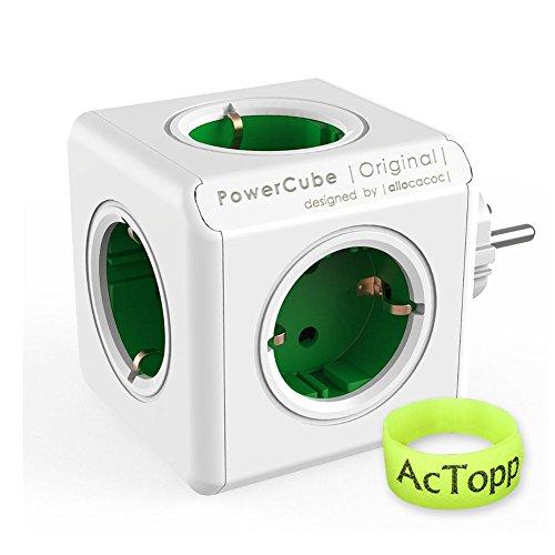 AcTopp Allocacoc Powercube Enchufe de Regleta Adaotador de Viaje con 5 tomas Forma de Cubo Ahorro de espacio Ladrón de Enchufe Color Verde+Blanco