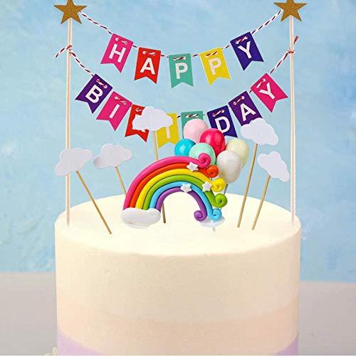 16 Piezas Pastel de Arco Iris,Decoracion Tarta Cumpleaños,Decoración de Pastel,con Happy Birthday Banderines,Arcoiris,Globos y Cloud,para Cumpleaños,Decoración de La Torta,del Banquete,Boda