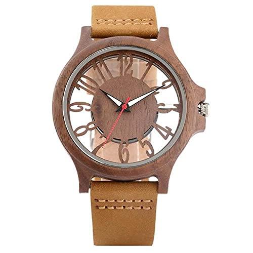 KUELXV Reloj de Pulsera de Madera Reloj para Hombre Reloj de Madera Vintage Nogal Superficie Hueca Reloj de Esfera Transparente Hombre Casual Deporte Retro Cuero, 4