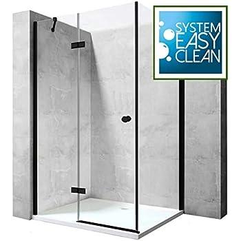 Cabina de ducha, mampara de ducha, ducha de esquina, 6 mm, vidrio templado negro mate, 90 x 70 cm: Amazon.es: Bricolaje y herramientas