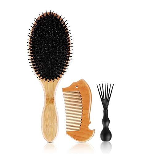 CZXKJ Entwirrungskamm 3pcs / Set Kamm-Haar-Bürste natürlicher Bambusgriff Wildschweinborste Anti statische Haarbürste Massage-Kamm Ideal für alle Haartypen