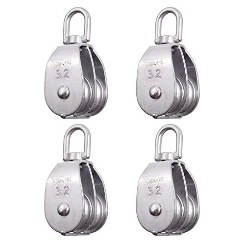Rocaris 4 Pack Stainless Steel Wire Rope Crane Double Pulley Block M32 Lifting Crane Swivel Hook Single Pulley Block Hanging Wire Towing Wheel