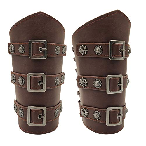 HiiFeuer Medieval PU Leather Buckle Arm Bracers, Knight LARP Retro Renaissance Arm Guards, One Size One Pair (Dark Brown)